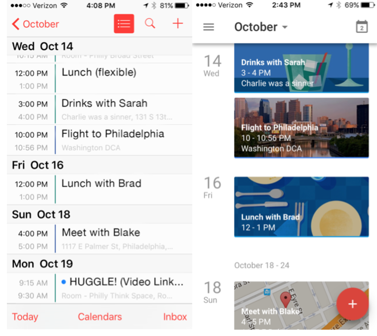 Apple and Google calendars, mobile view