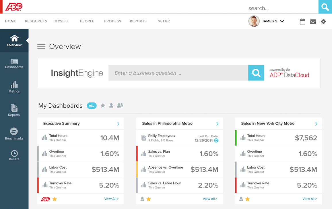 ADP Account overview with InsightEngine searchbar