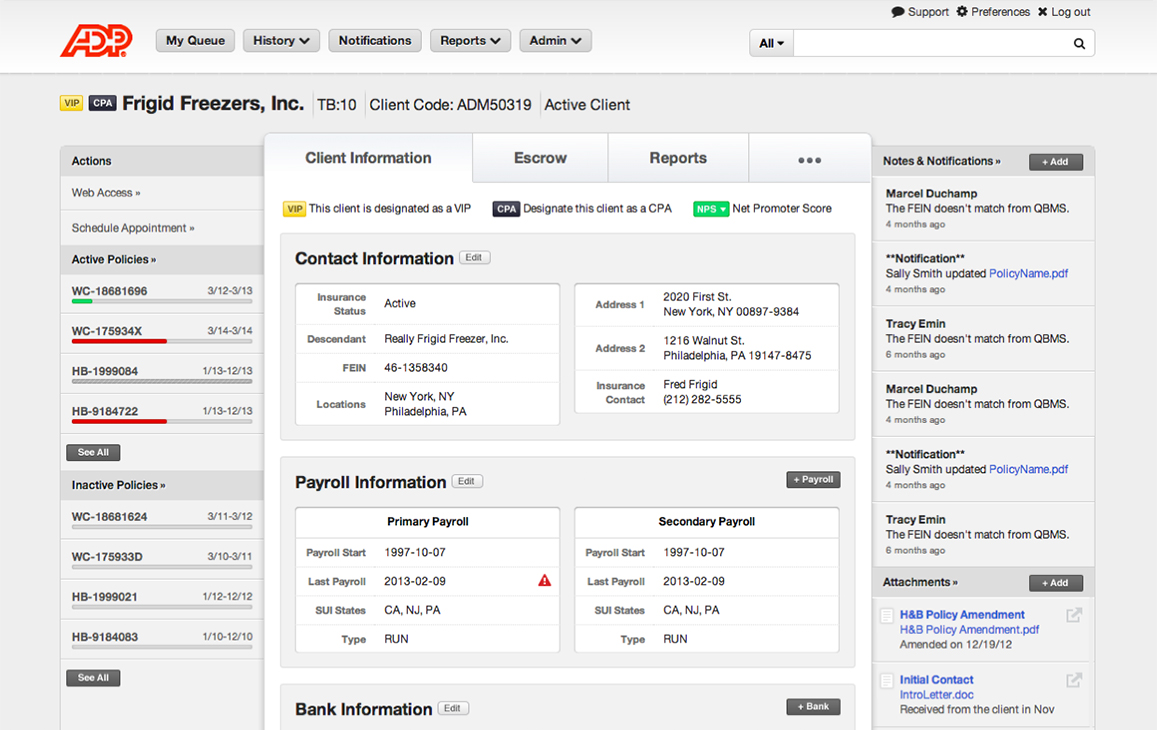 ADP Log-in client detail information
