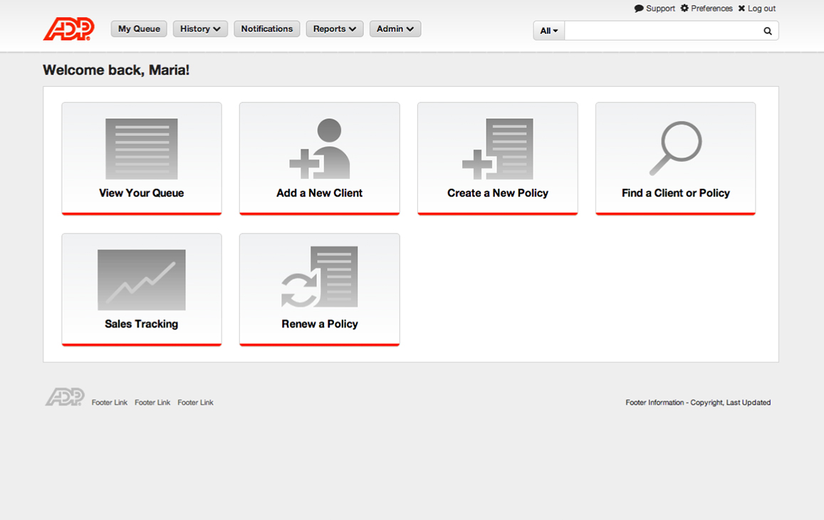 ADP Log-in homepage