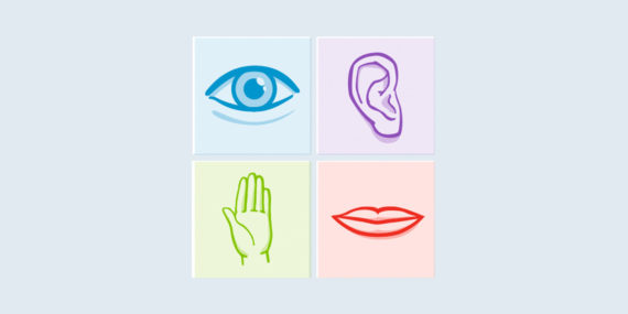 four panel graphic with eye ear hand mouth