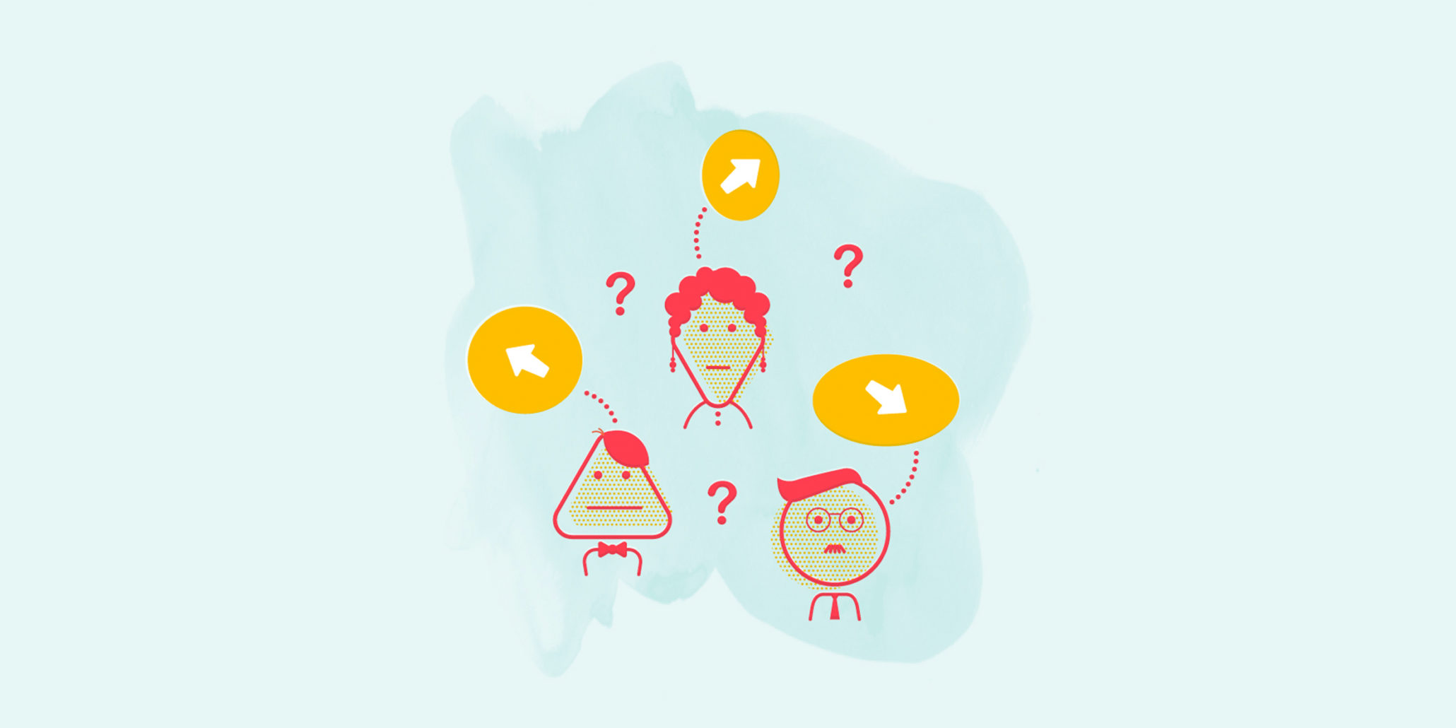 illustration of people who look confused with question marks