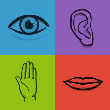 Graphic of an eye, ear, hand, and mouth