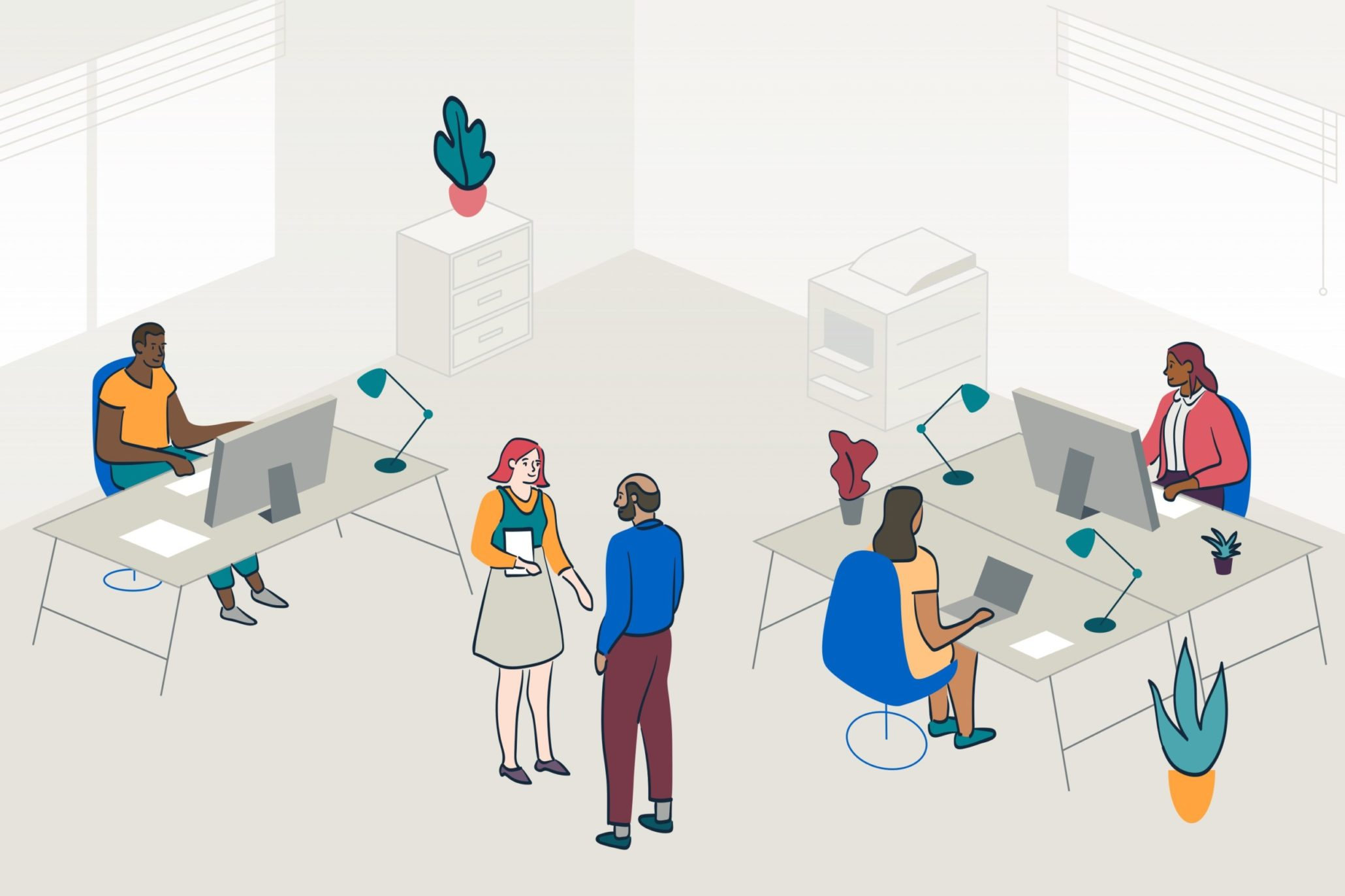 diverse workplace with people and desks