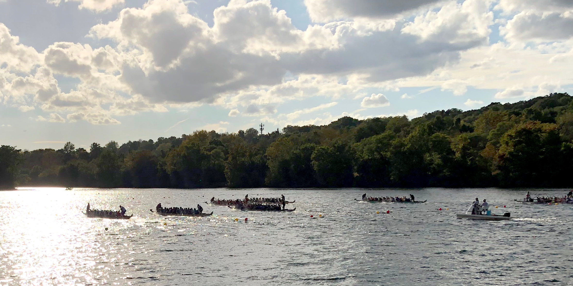 photo of dragon boats on river