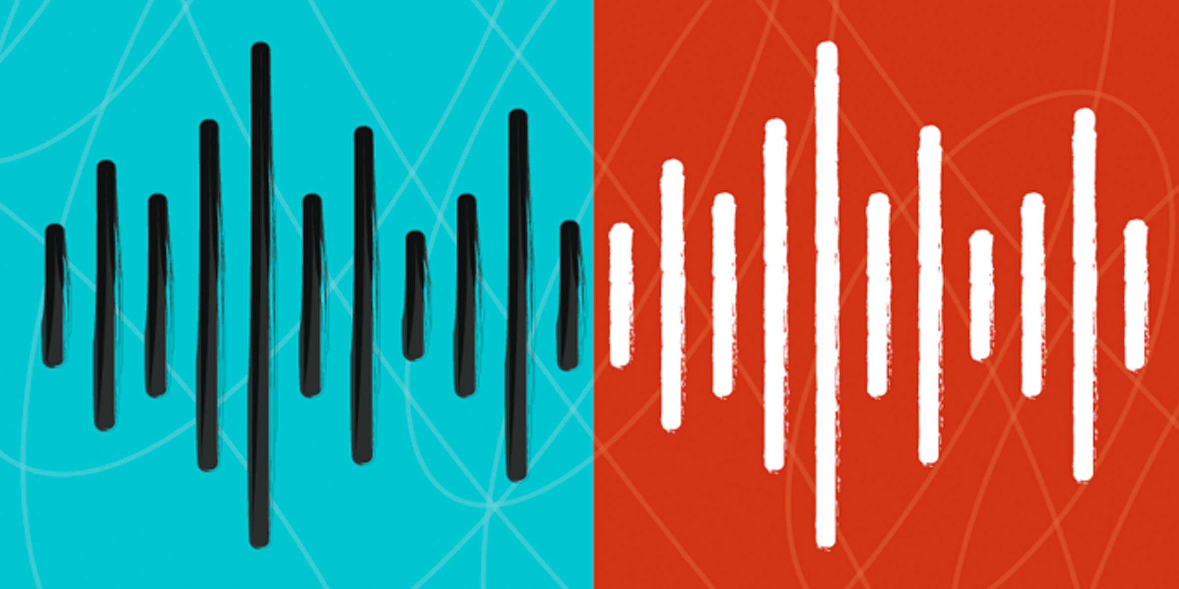 Stylized illustration of sound waves