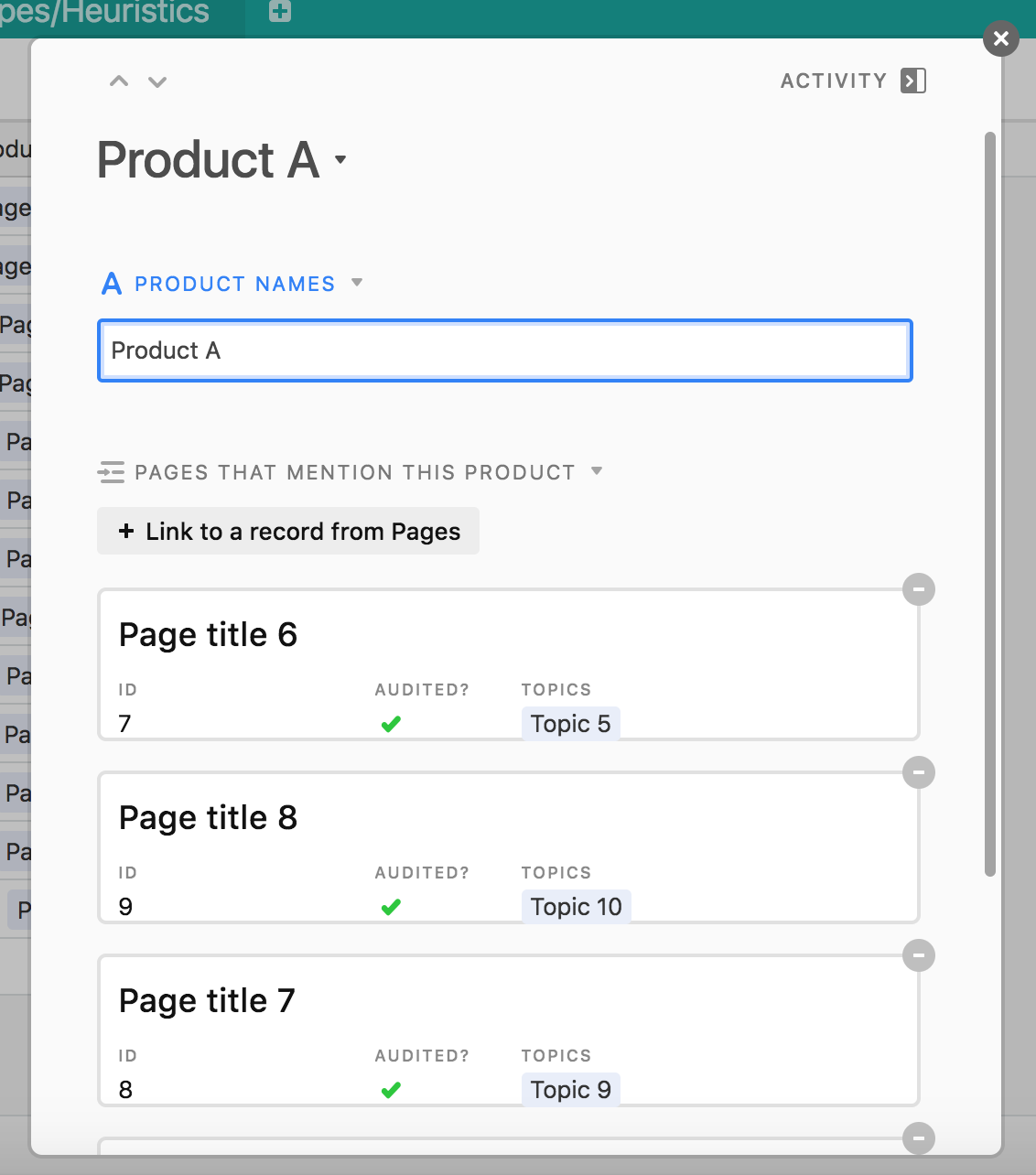 A screenshot of the Airtable template showing the expanded record.