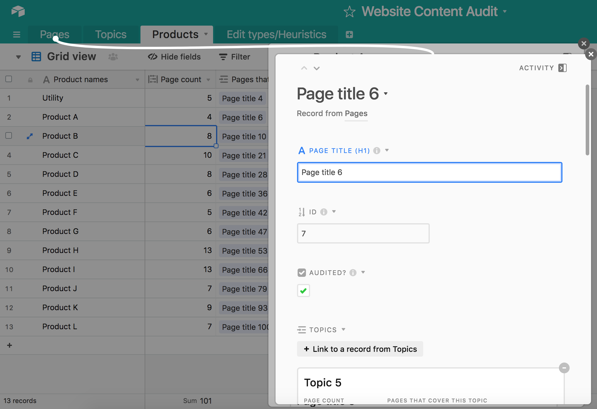 A screenshot of the Airtable template showing the expanded record for a linked record.