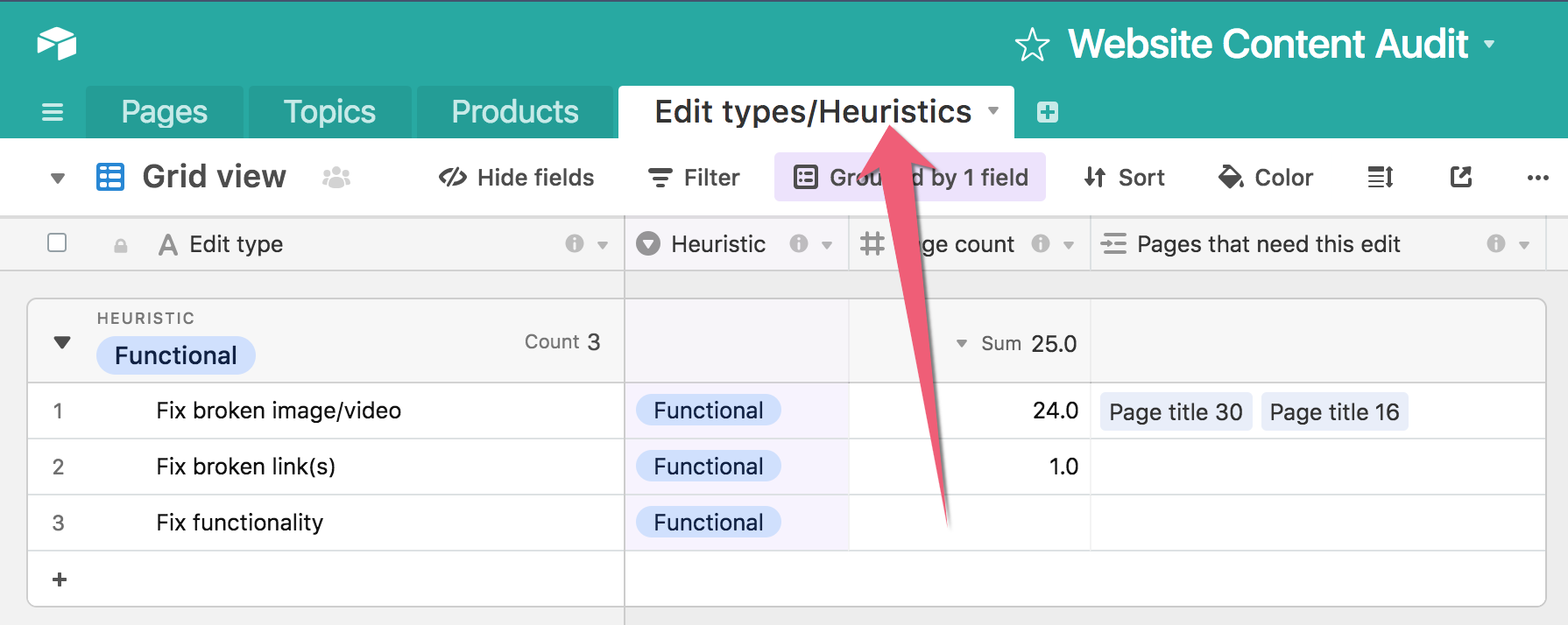 "A screenshot of the Airtable template pointing out the ""Edit types/Heuristics"" tab."