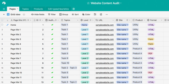 Screenshot of content audit in Airtable