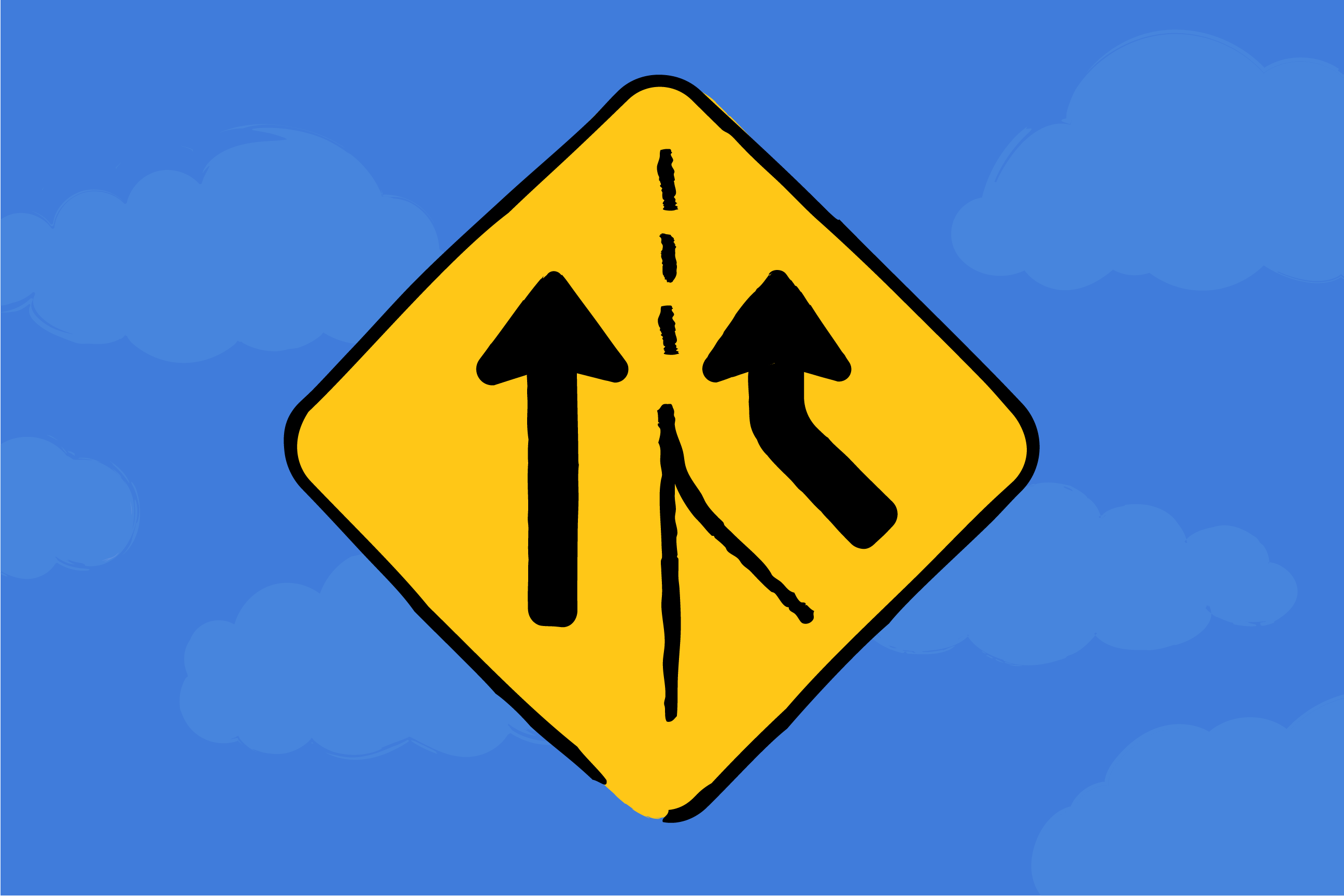 Illustration of a merge traffic sign