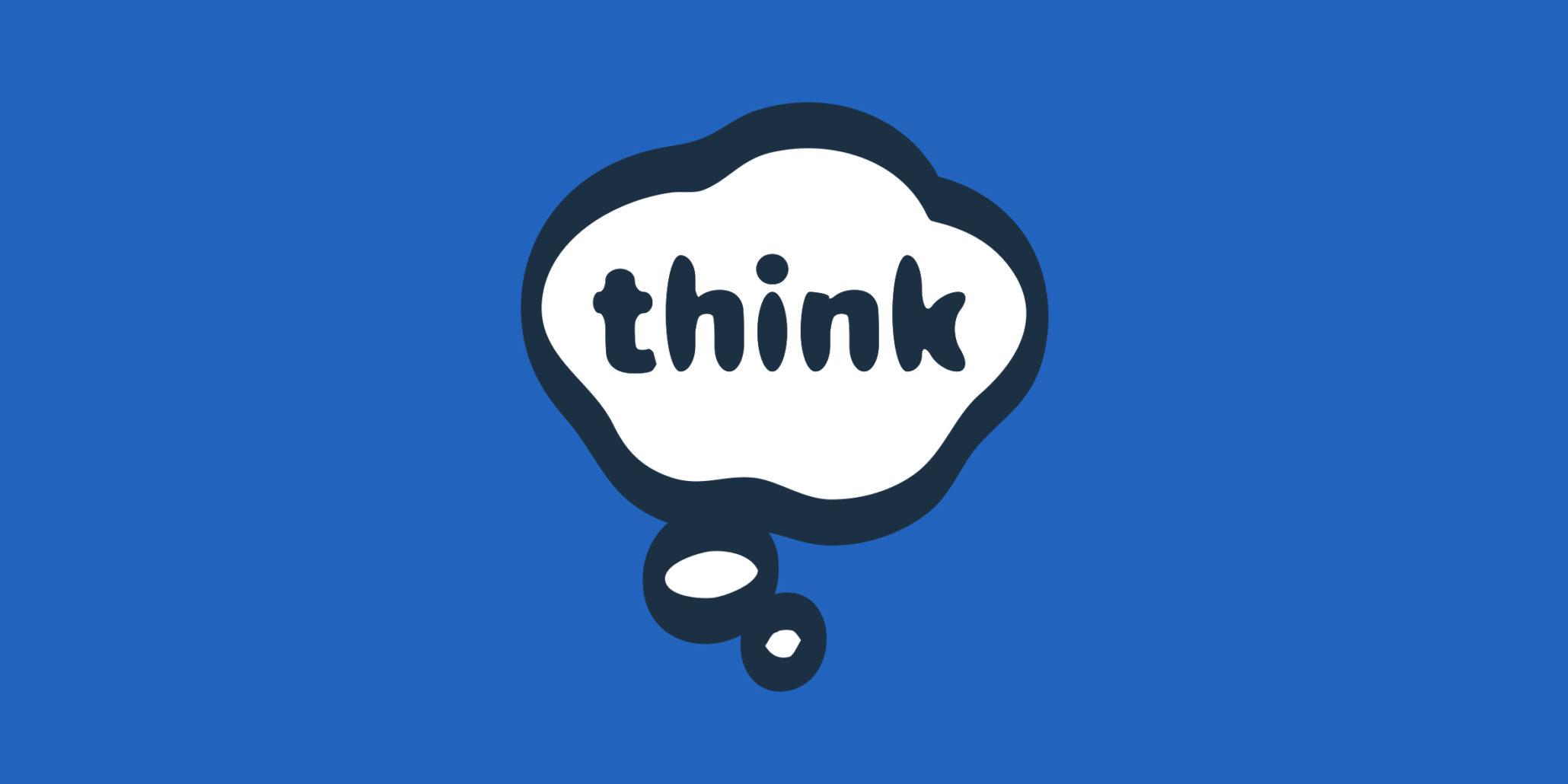 think bubble logo on royal blue background