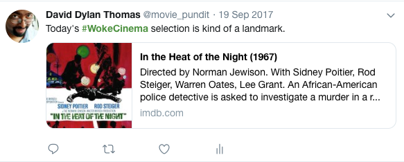 "Screenshot of a tweet by Dave Thomas recommending the movie ""In the Heat of the Night."""