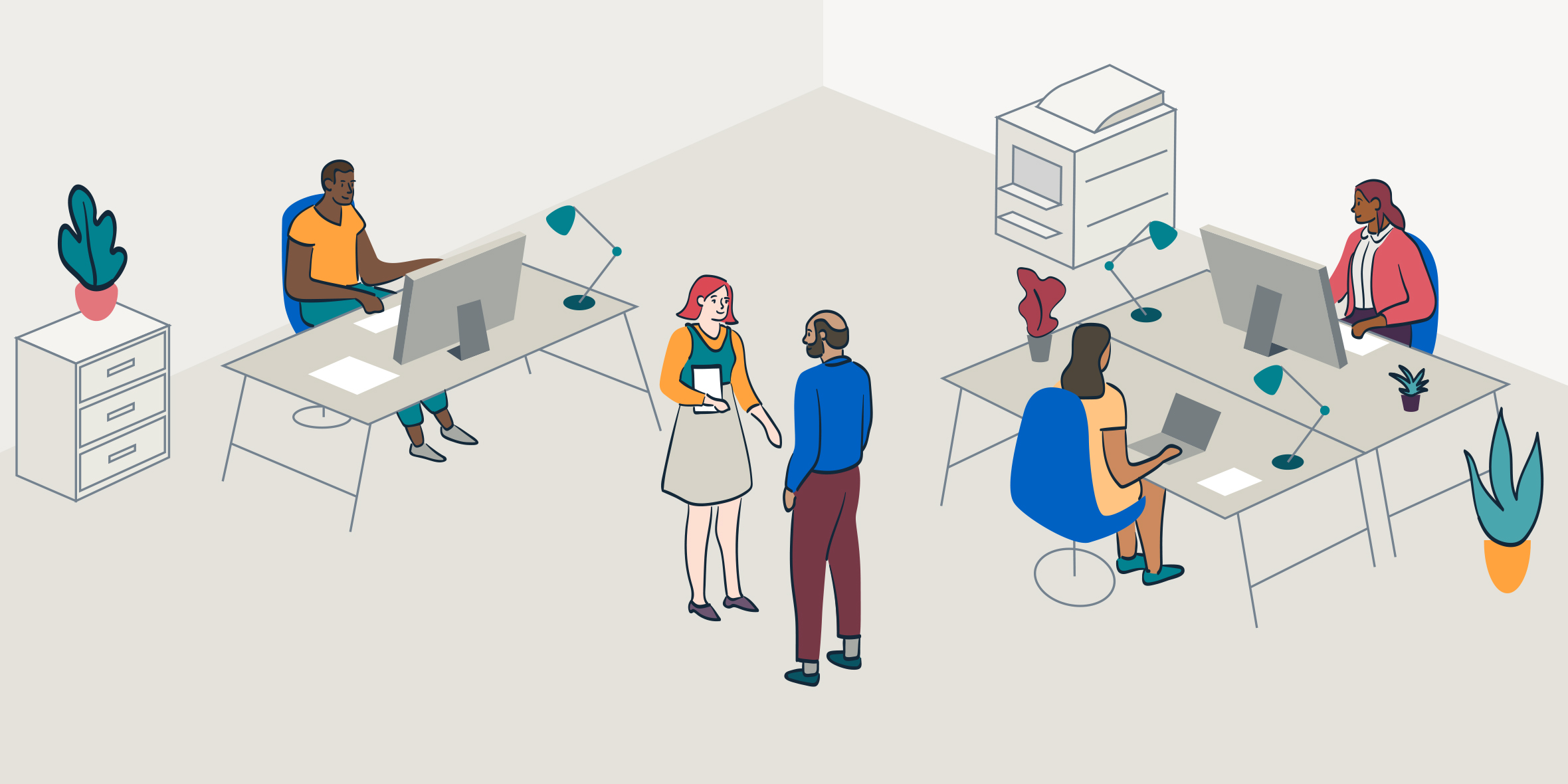 Illustration of an office with employees working
