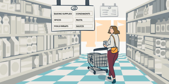 illustration of woman shopping for groceries