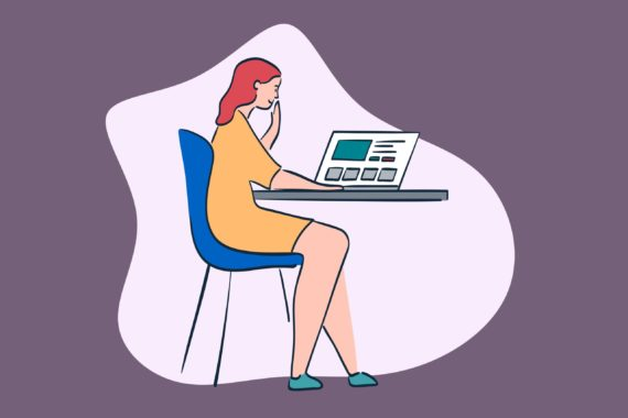 Illustration of woman sitting at desk with laptop