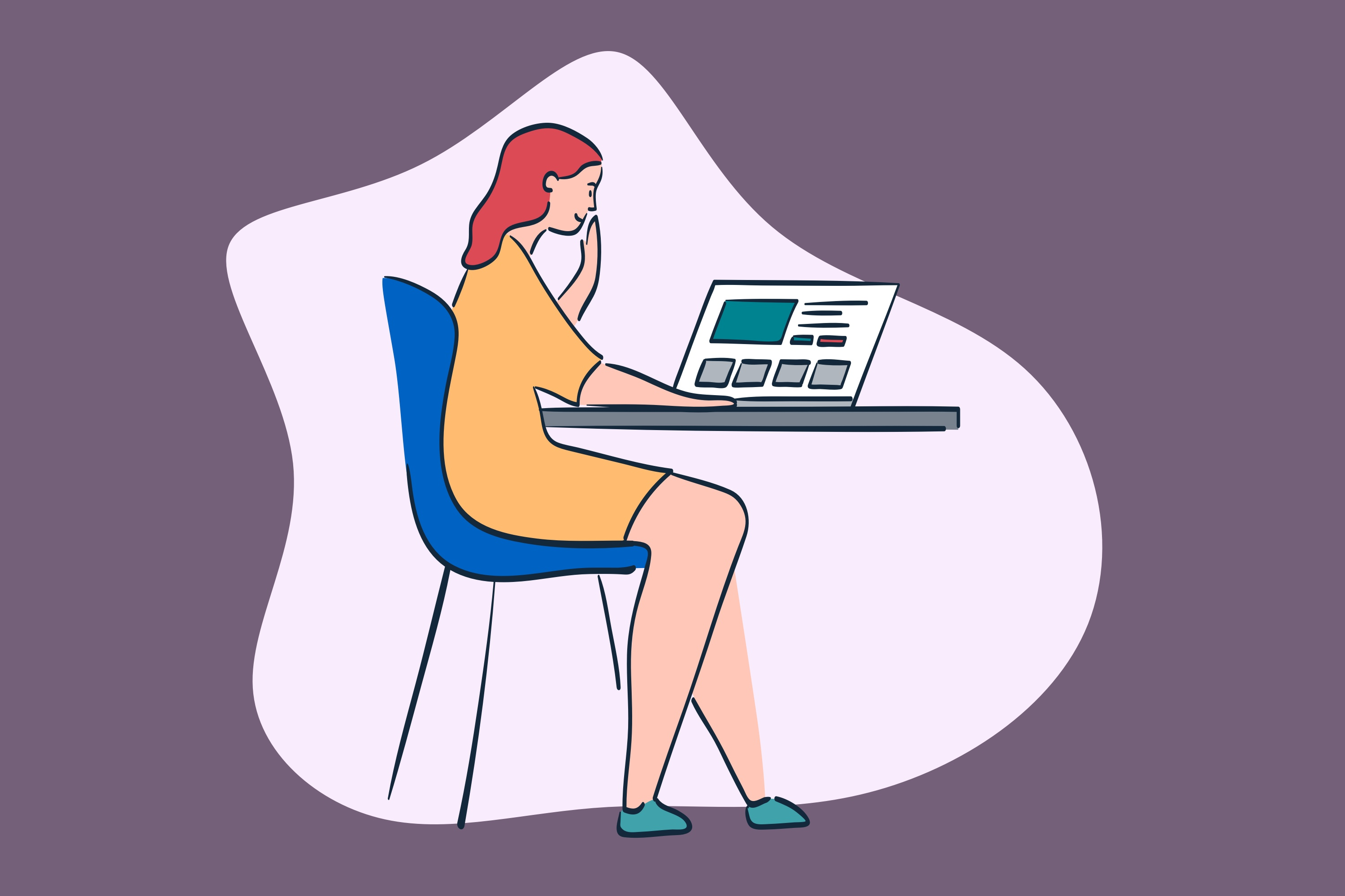 Illustration of a woman sitting at a table using a laptop