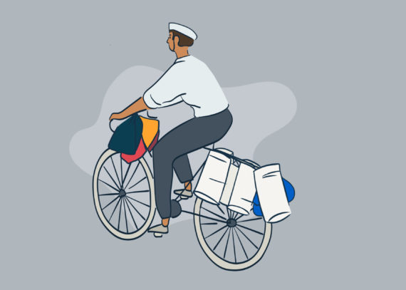 Dabbawala riding a bicycle
