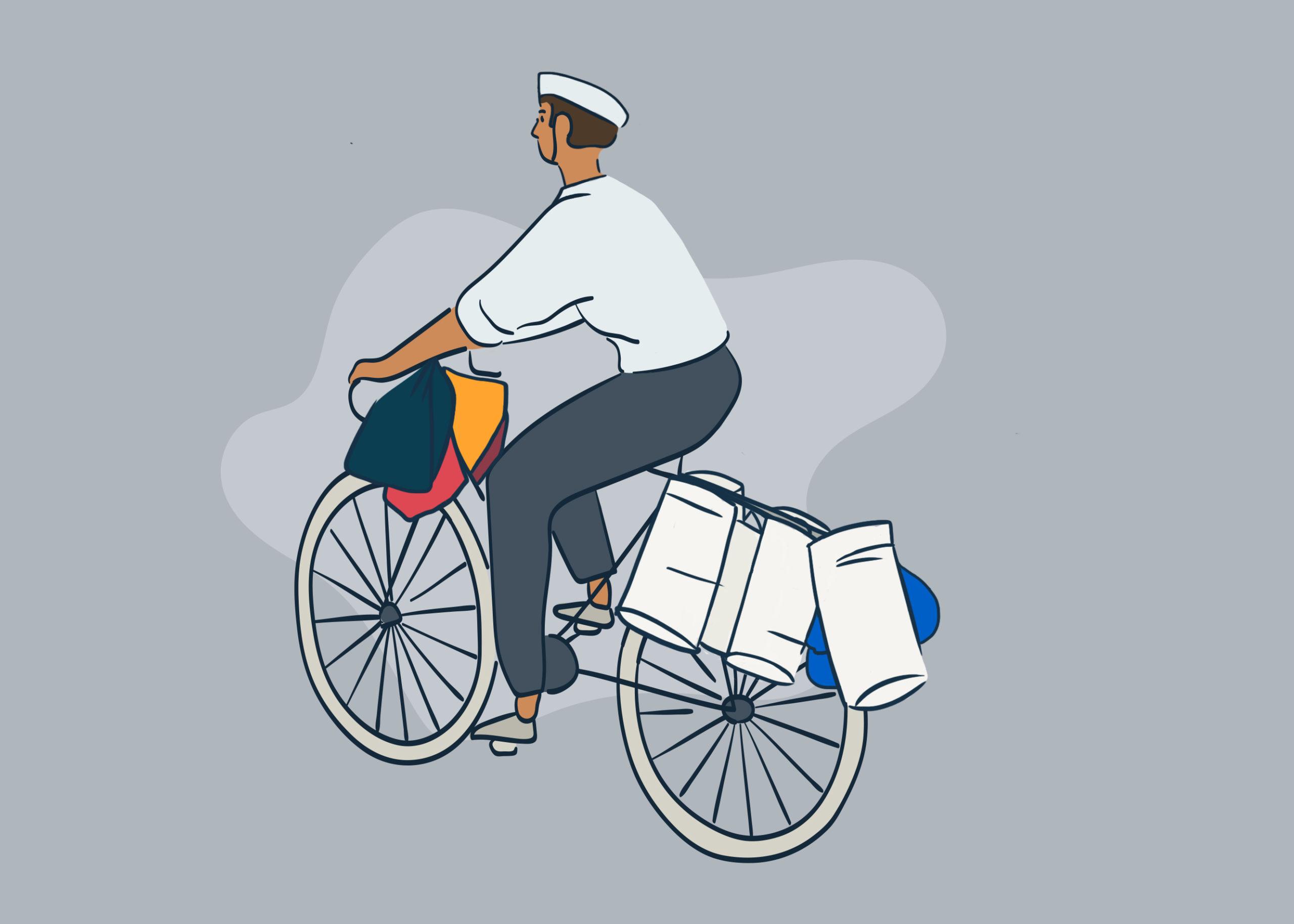 Dabbawala riding a bicycle