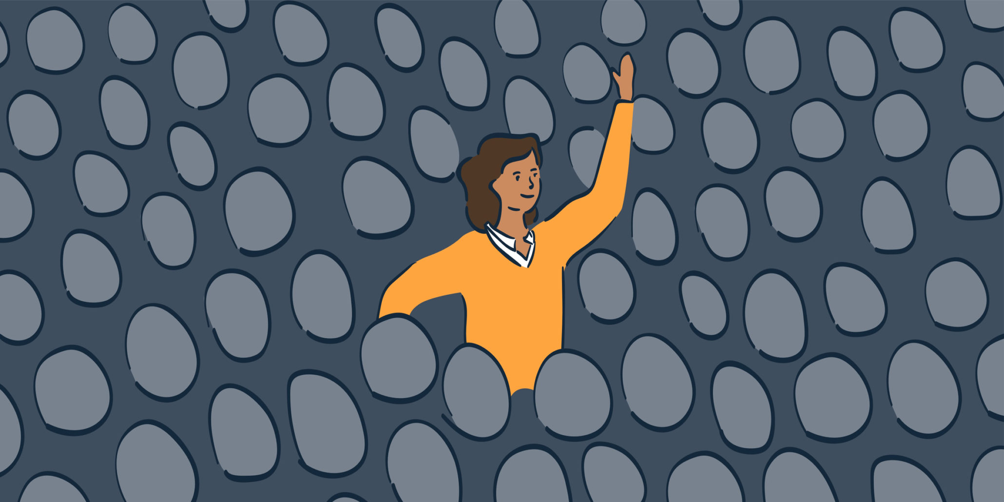 illustration of woman raising hand in crowded audience