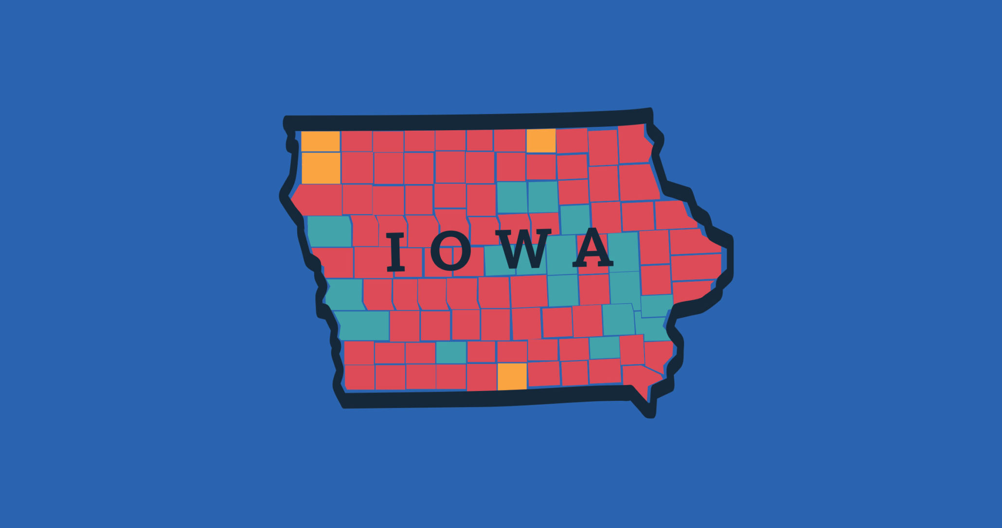 Map of the state of Iowa