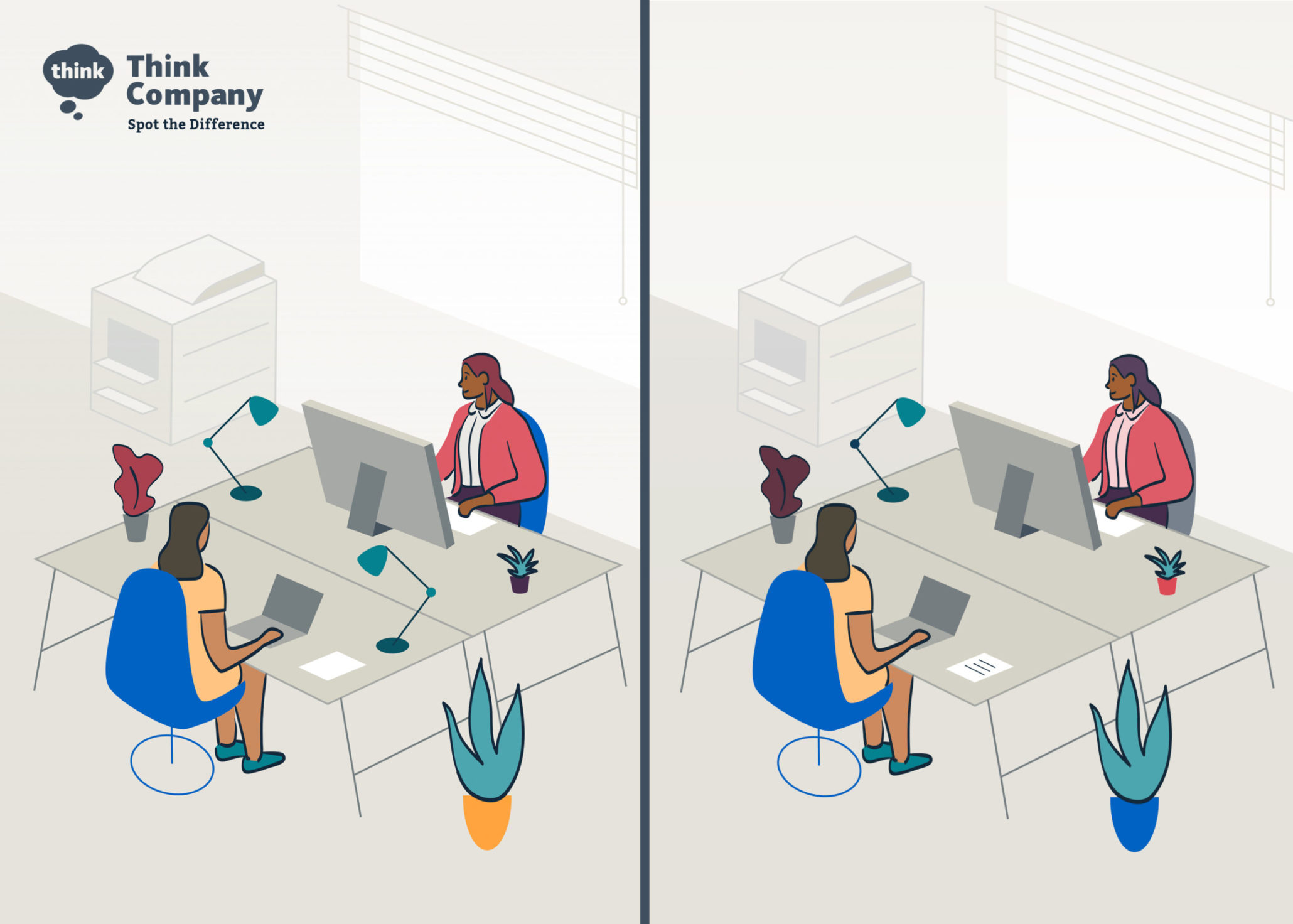 Two-paneled illustration with small differences