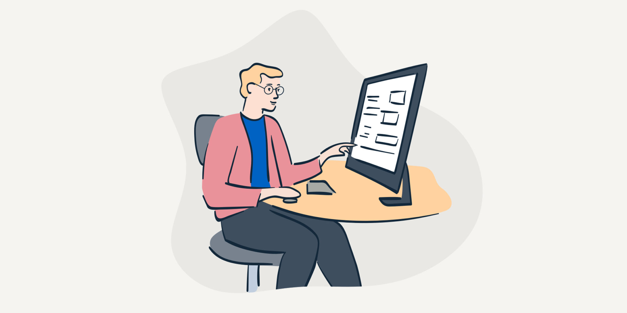 Illustration of person sitting at computer