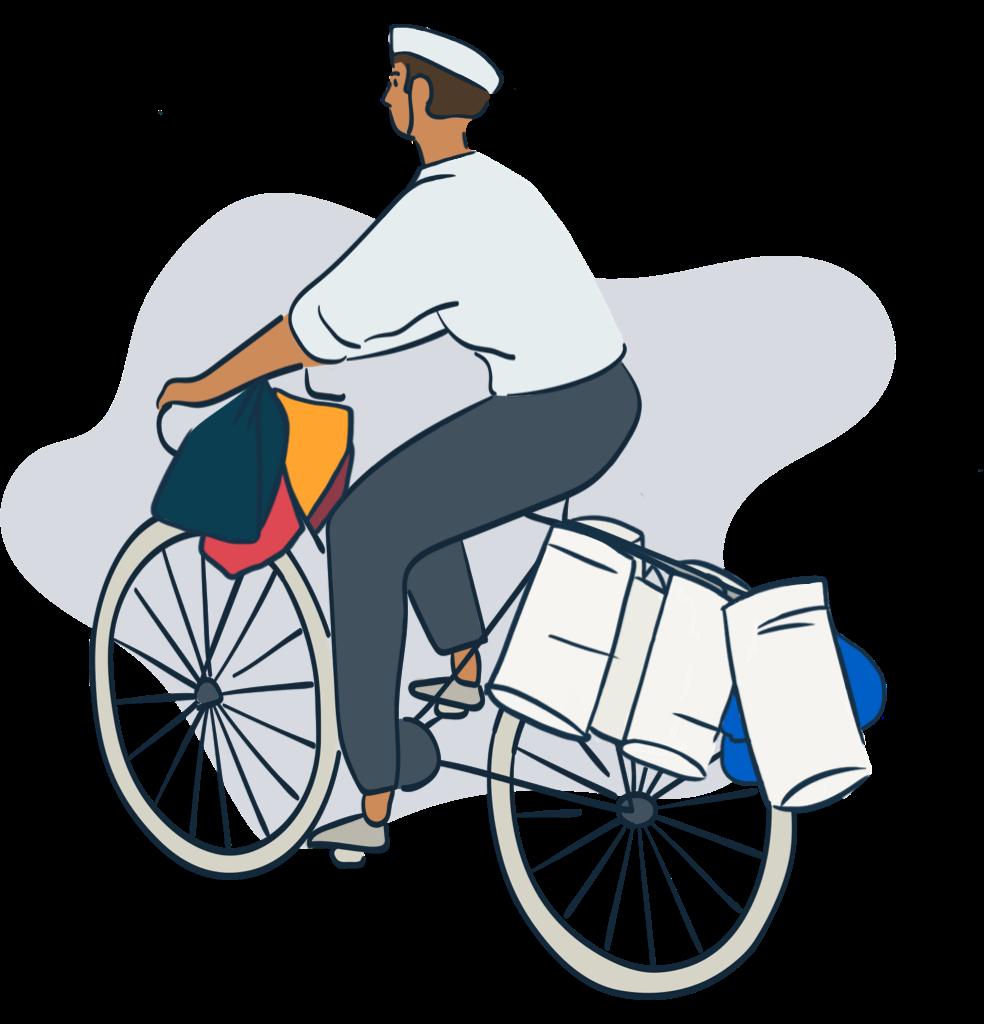 Dabbawala riding a bike