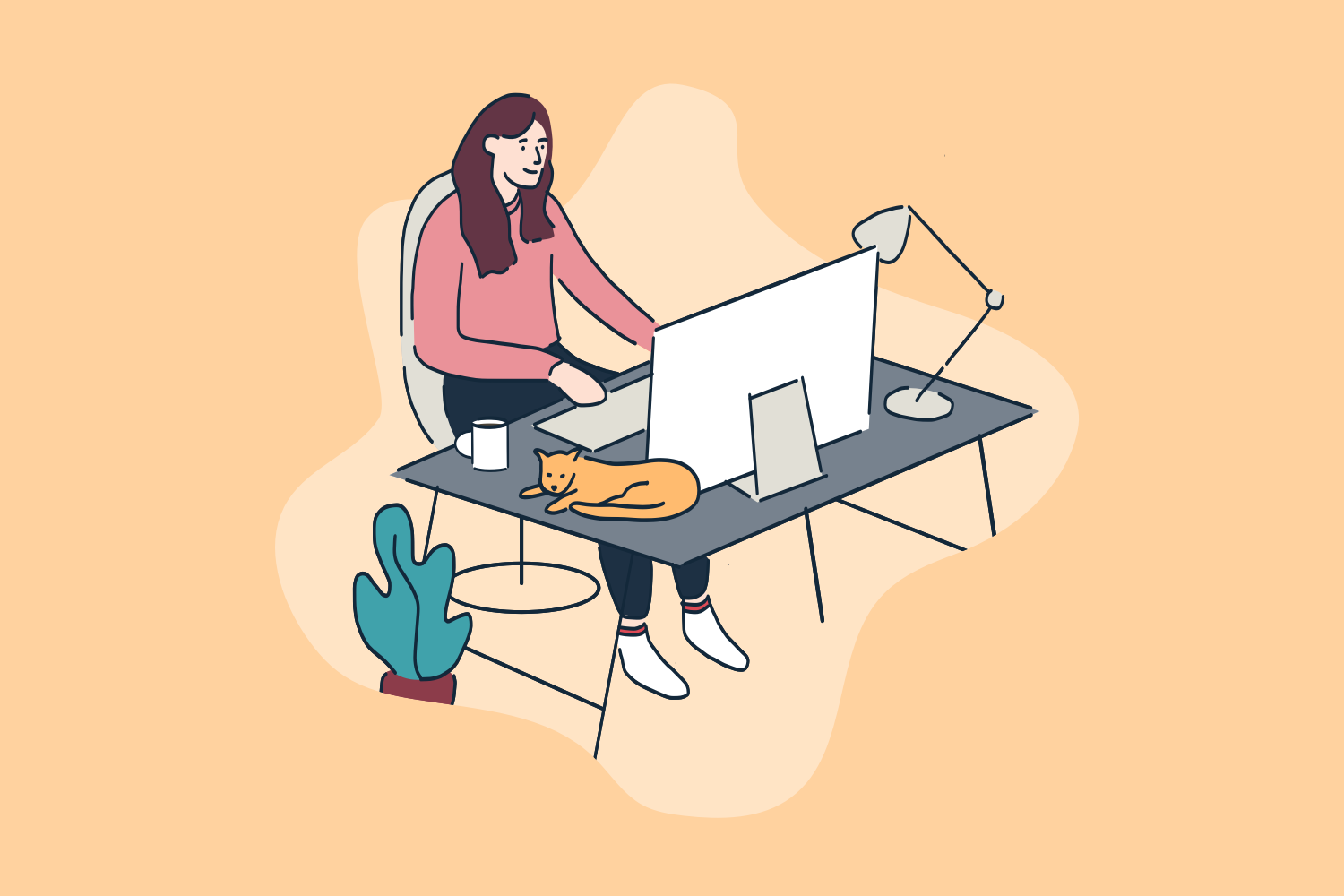 Person sitting at home computer desk