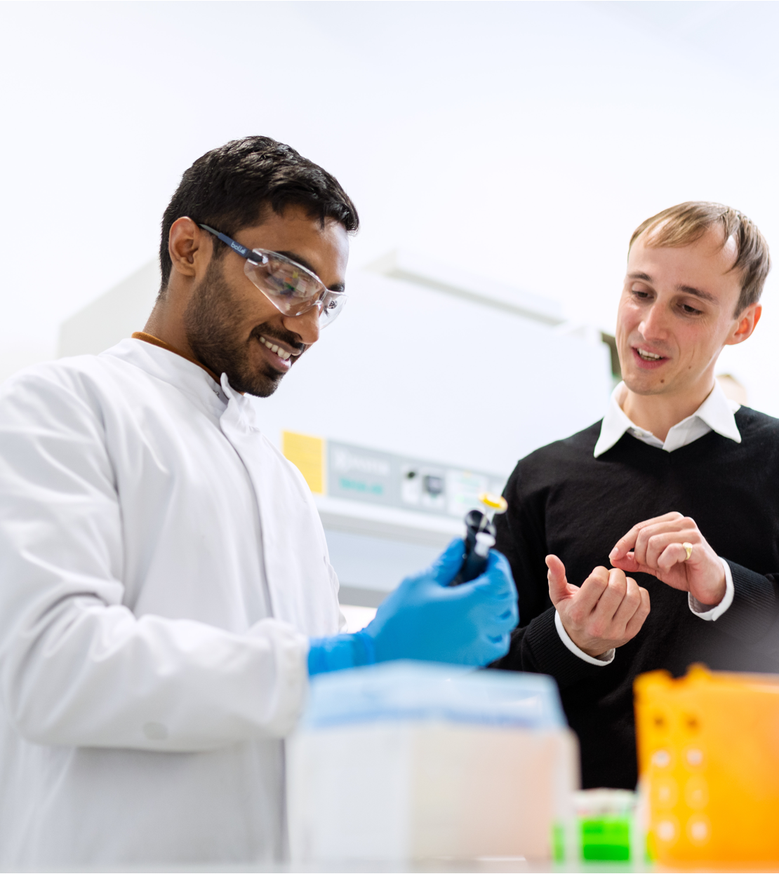 physician and researcher in a lab