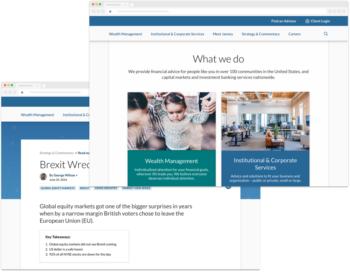 two views of a finished financial services website overlayed in browser windows