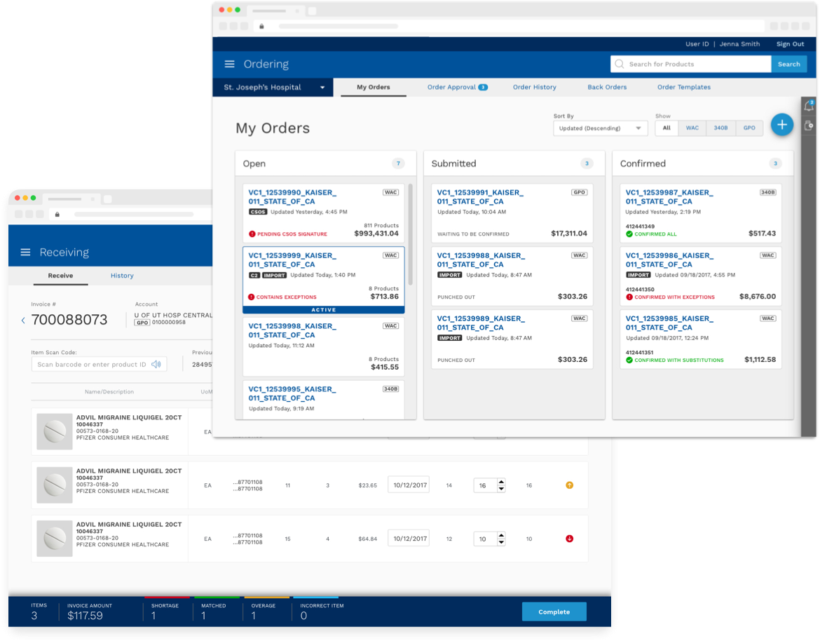two views of a web app for managing orders