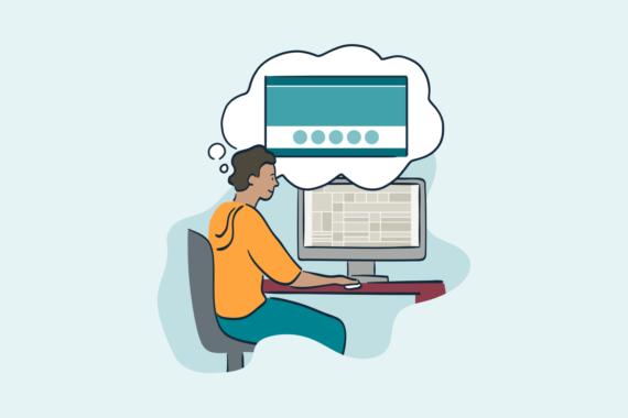 Illustration of man sitting at computer