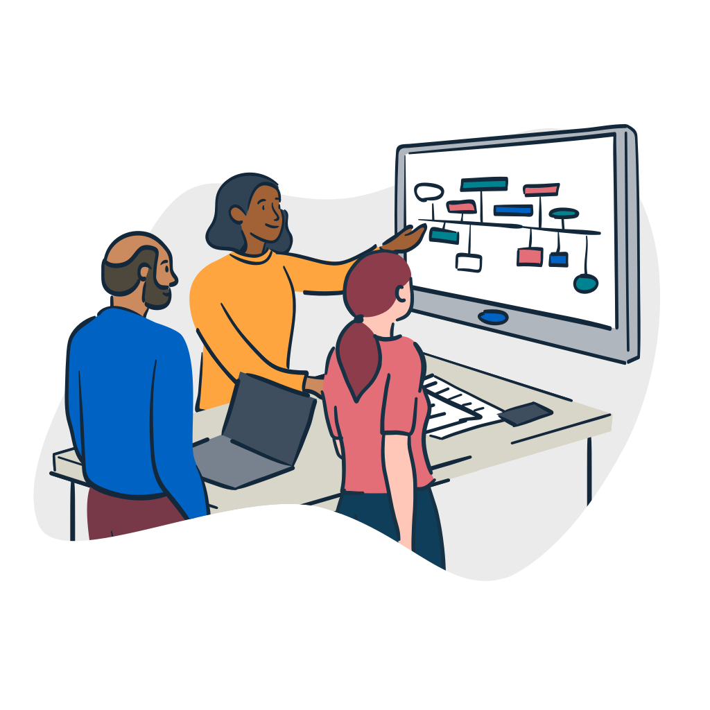 illustration of people around a table pointing to a screen with a chart on it