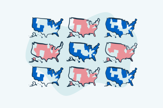 A blue-red visualization of election results on many different US maps