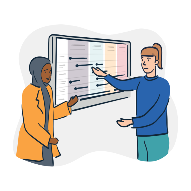 illustration of two people standing at a computer screen presenting