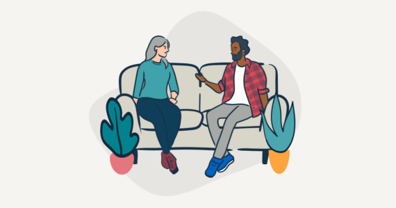 illustration of two people having a conversation on a couch