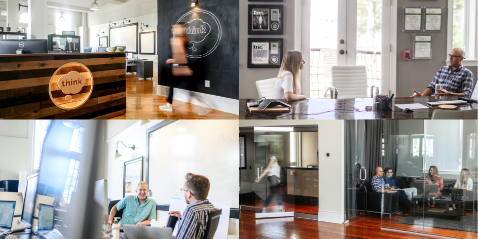 4 images in a grid of Think Company's Conshohocken studio space