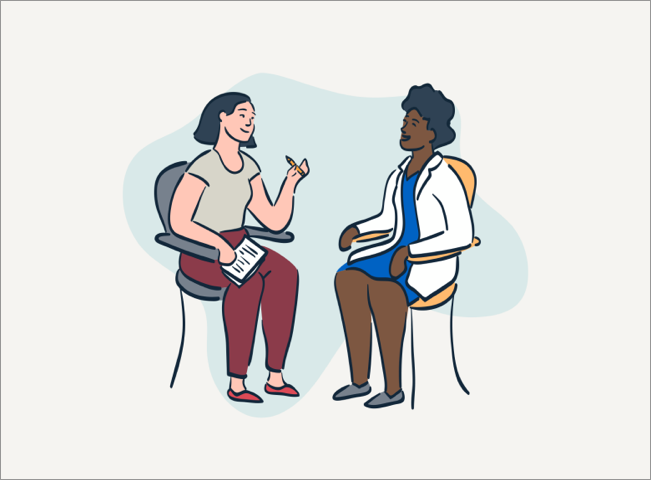 illustration of two people sitting having a conversation