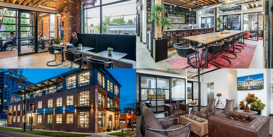 four image grid of Shift Bannock studio space where Think Company works in Denver