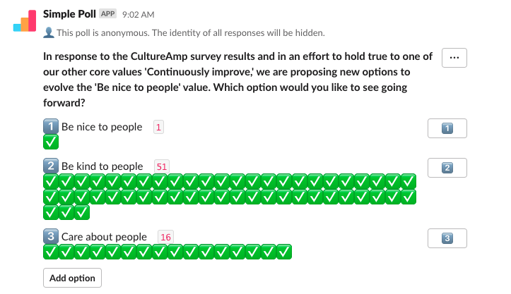 """Slack poll with """"Be nice to people"""" as the winner"""