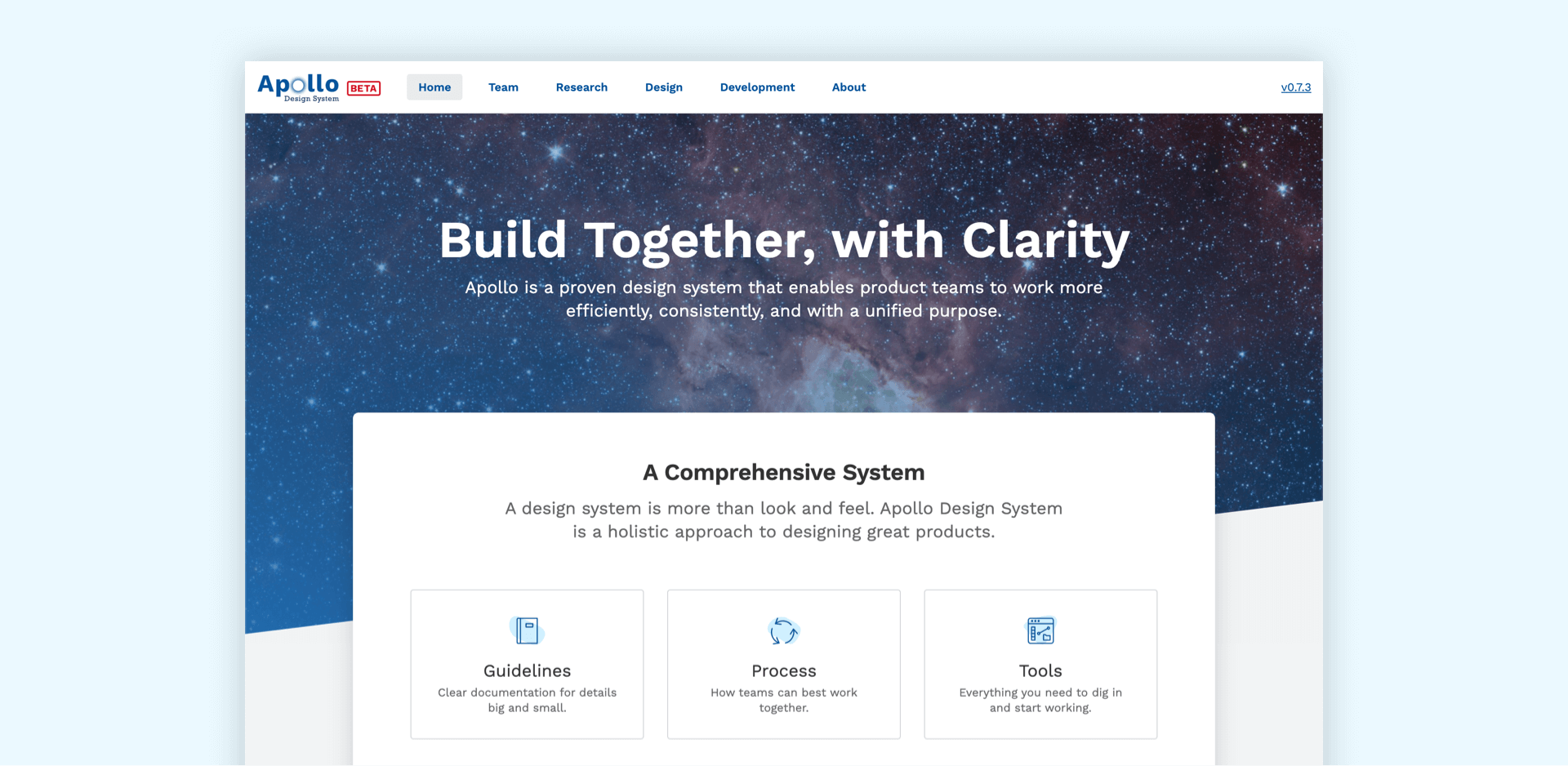 example homepage design system