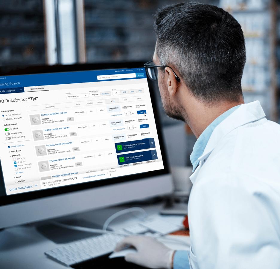 customer using a digital tool on a desktop