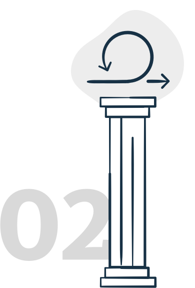 illustration of a pillar with directional arrows