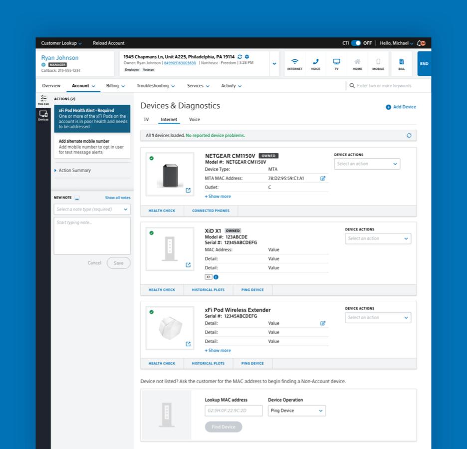 employee-facing account dashboard