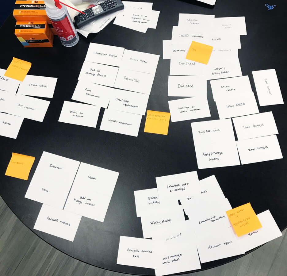 sticky note exercise on a table
