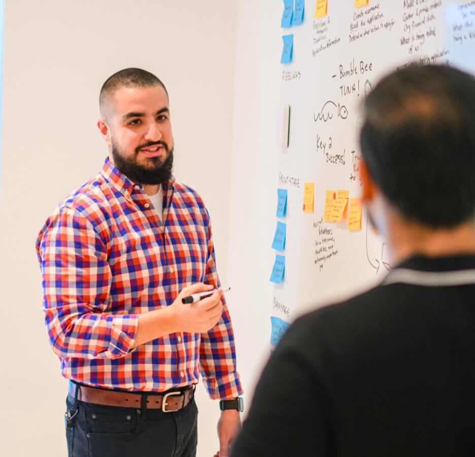 People brainstorming on a whiteboard