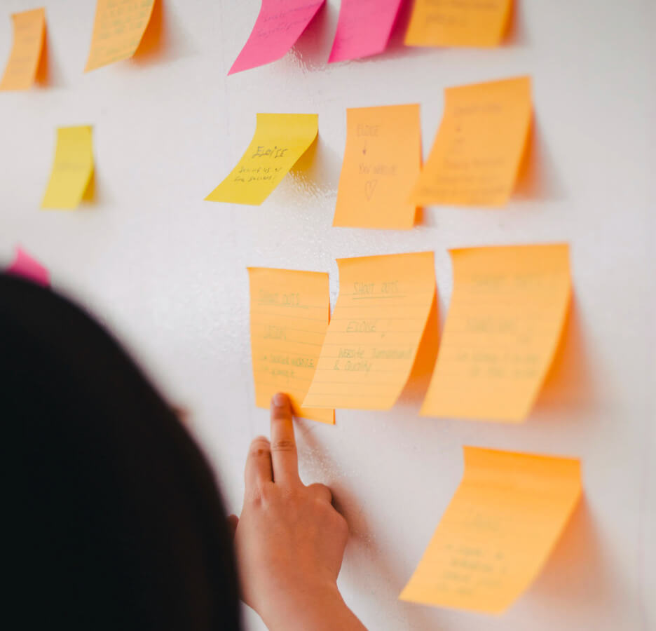 white board with sticky notes