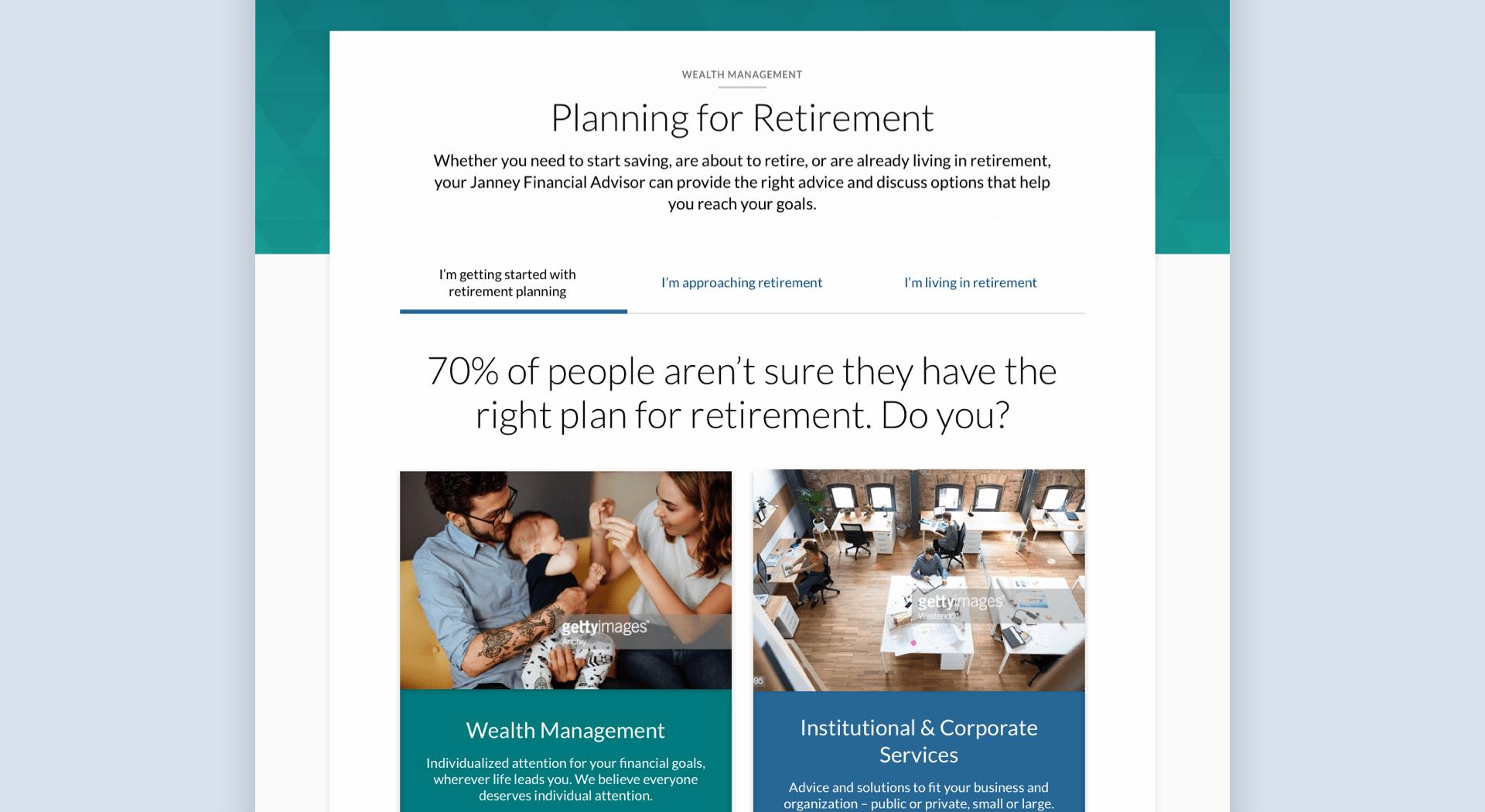 example retirement planning screen