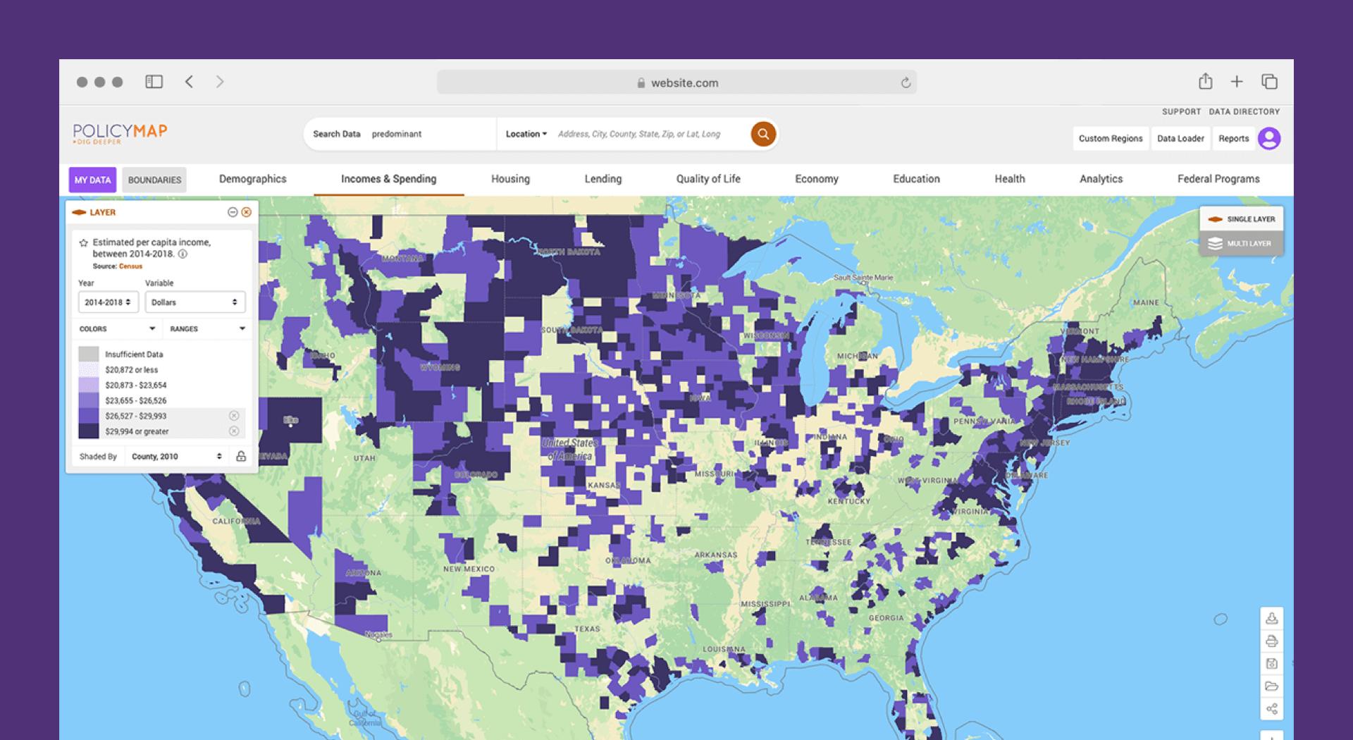 screentshot of interactive map of U.S.